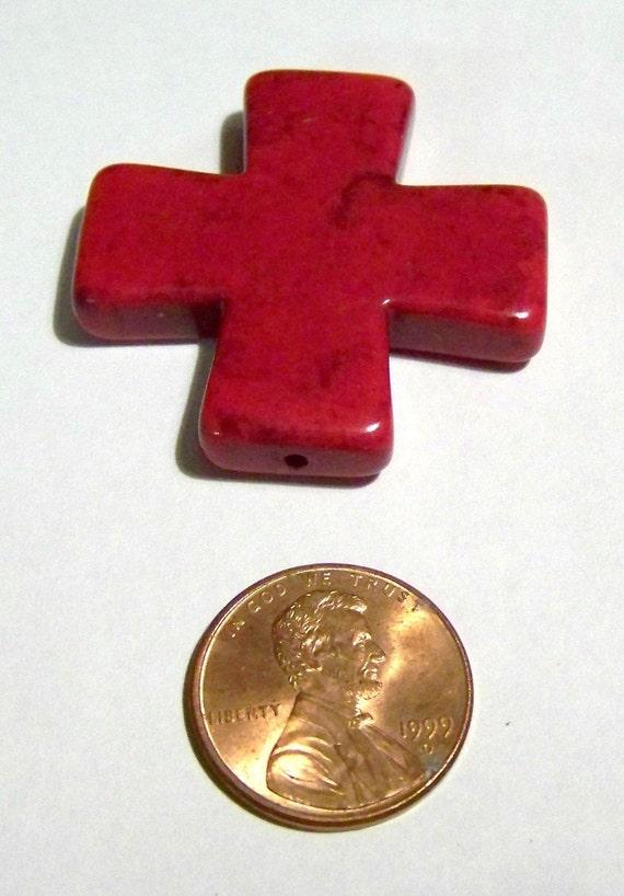 Medium Beautiful Deep Red Stone Cross