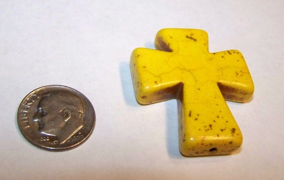 Medium Yellow Stone Cross