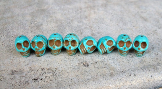 12mm by 10mm Skull Beads Turquoise Blue Stone