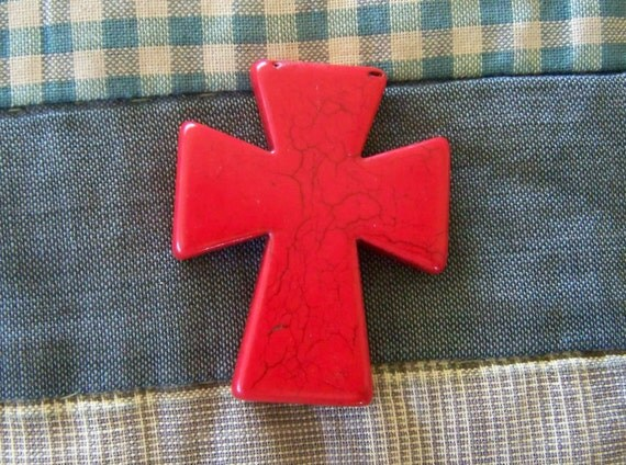 Cross Large Bright Red Magnesite