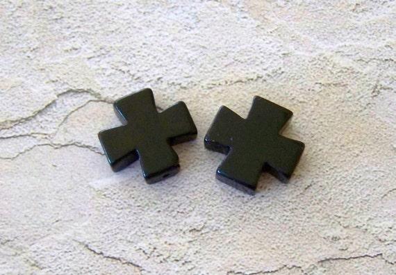 Small Black Stone Square Crosses