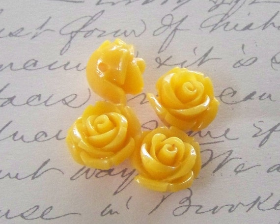 Tiny Lucite Golden Yellow Rose Beads