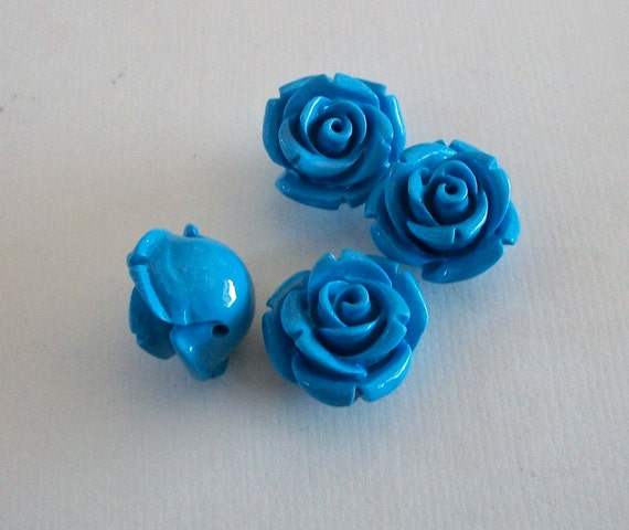 Rose Sky Blue Acrylic Beads