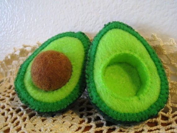Felt Food Avocado set eco friendly childrens pretend play food for toy kitchen