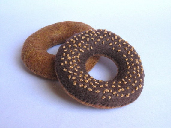 felt food donuts set B plain & chocolate glazed with nuts - eco friendly childrens pretend play food for toy kitchen