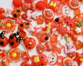 Red Resin Flatback, Resin cabochons, MYSTERY Mix, embellishment, 20 PIECES