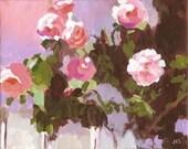 Pink Rose Greeting Card  Impressionist Garden