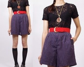 Vintage Navy Nautical Striped Pleats and Pockets High Waist Trouser Shorts - S / M