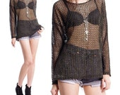 Vintage 80s 90s Top - Sheer Black Netted Tunic Mesh Shirt - S / M / L