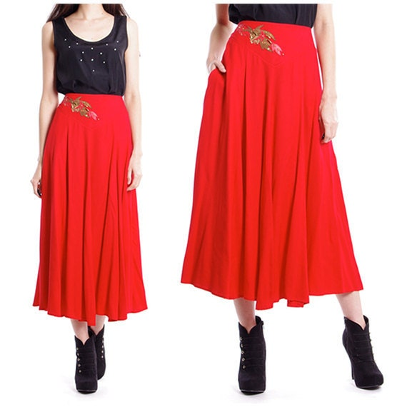 Red High Waist Skirt - Skirts