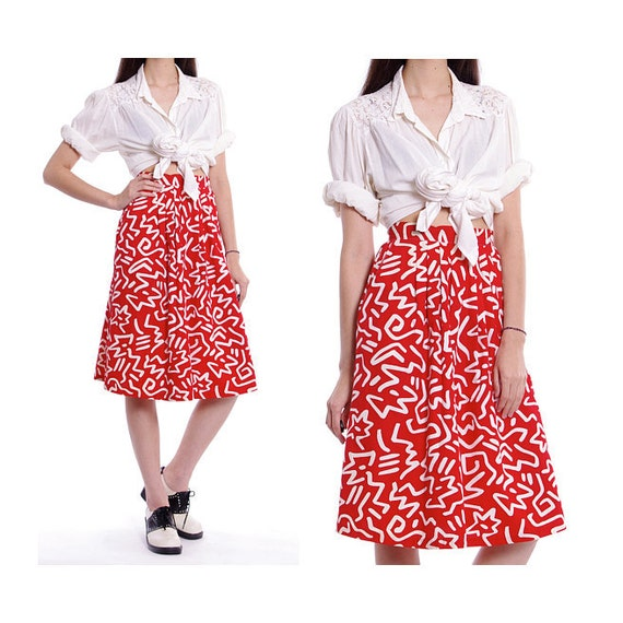 Vintage Red Skirt Midi Abstract Print High Waist 70s - XS / S