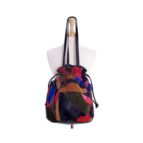 Vintage 80s Bucket Bag - Patchwork Leather Suede Shoulder Bag Tote Hobo Boho