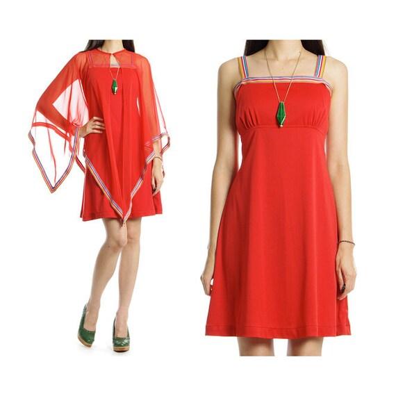 Vintage 60s 70s Mini Dress - Sheer Chiffon Cape Empire Waist Babydoll Sundress - S / M