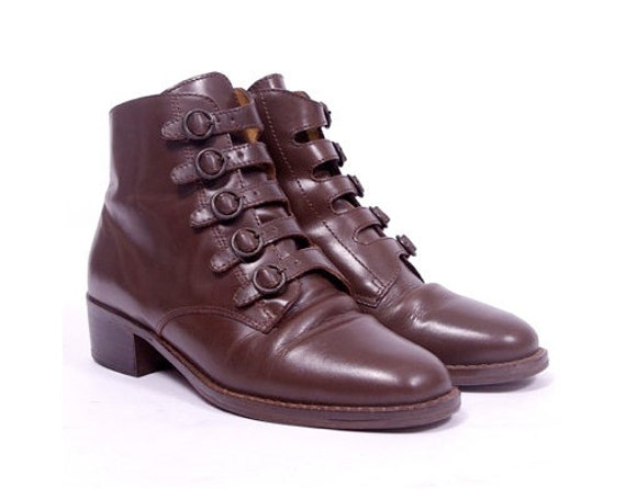 Vintage Victorian Granny Brown Leather Ankle Boots - (6) (36)