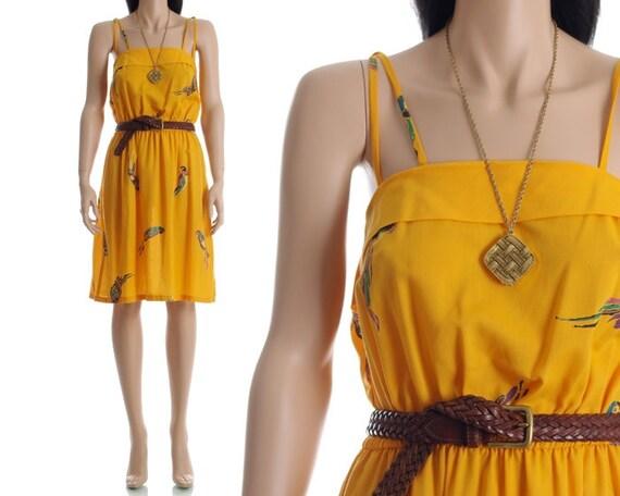 Vintage 70s Dress - Yellow Parrot Novelty Mini Sundress - M