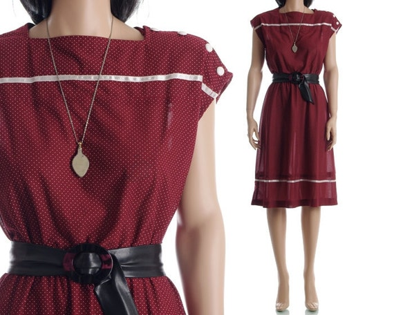 Vintage 80s Indie Dress - Sheer Maroon Polka Dot Dress - M