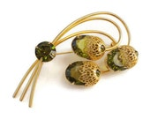 """Vintage Sarah Coventry Brooch, Green Costume Jewelry, """"New Elegance"""" Design, Produced by D&E  (Juliana), 1965"""