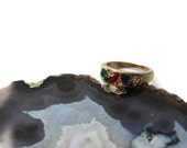 Vintage Mulit-Stone Marquise Ring, Blue, Green and Red Rhinestone Ring in Gold Tone, Vintage costume Jewelry Ring Size 5.75 Size