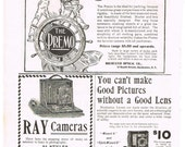 Antique 1899 Camera Advertisements, Kodak Paper Ephemera, Two Full Pages of Original Ads, Premo, Ray, Wizard & More, 6 Ads in All