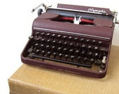 Vintage Olympia Typewriter, Manual Portable SM 1 Model, Maroon Typewriter, RARE First Model in Series, Made 1950, West Germany, Home Decor