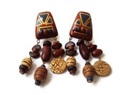 Vintage Tribal Wooden Earrings, Boho Beaded Earrings,  Hand Painted Long Dangely Earrings, Clip On Earrings, Fashion Jewelry