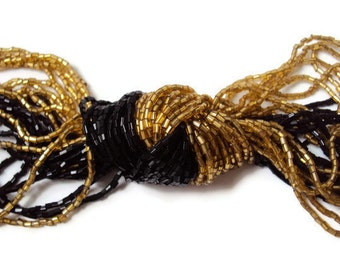 Vintage Multi Strand Necklace, Knotted Necklace, Black and Gold Statement Necklace, Statement Jewelry