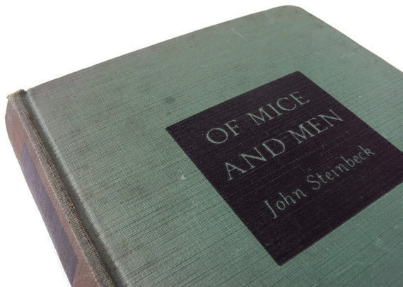 """Vintage Book """"Of Mice and Men"""" by John Steinbeck,  Antique Green Book, 1938 Classic"""