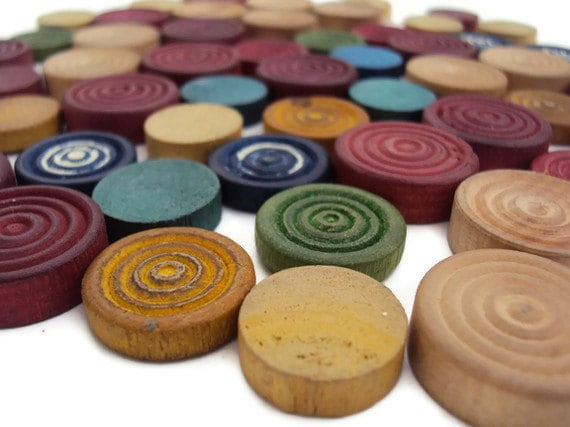 53 Vintage Wood Pieces for Upcycling or Assemblage Supplies, Wooden Game Pieces, Colorful Supplies