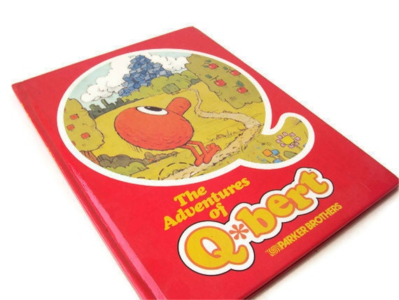 Vintage QBert Book, Red Children's Book, Vintage 1980's Nintendo Character, Atari Character, Arcade Character