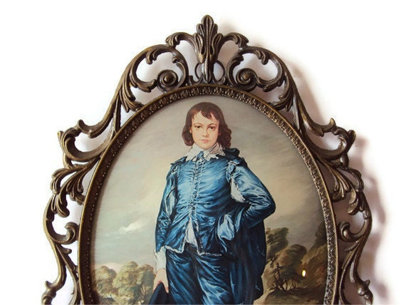 RESERVED Vintage Portrait in Bubble Glass Metal Frame, Victorian Inspired Mid Century Home Decor, Made in Italy, Ready to Hang Art