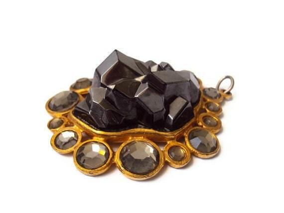 "HUGE Vintage La Royale Pendant, Large Designer Costume Jewelry, Statement Jewelry, Rhinestone and Faux Hematite set in Gold Tone, 3 X 2.25"""