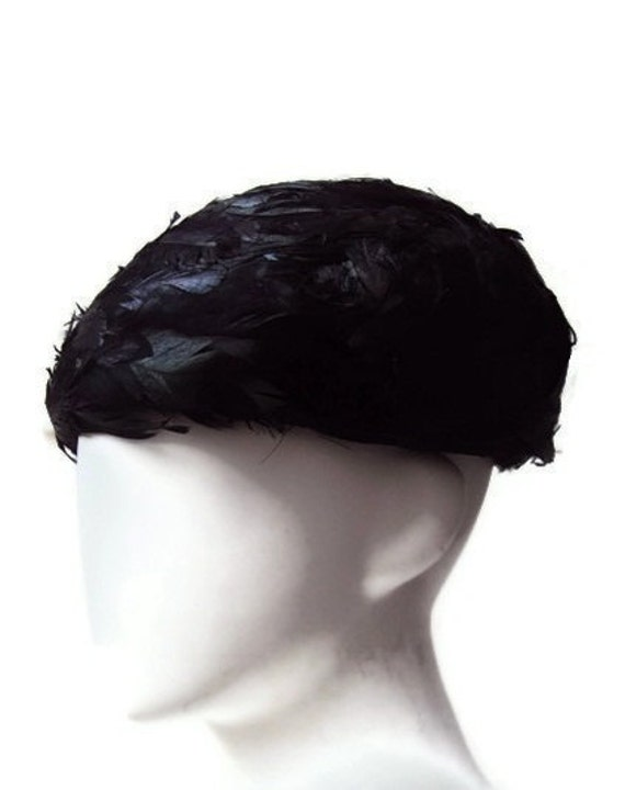 Vintage Feathered  Bubble Hat, Black Hat with Iridescent Feathers, Union Made Vintage Hat, Mid Century Millinery