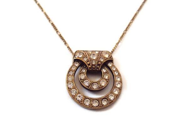 Vintage Rhinestone Necklace, Costume Jewelry, Door-Knocker Style, Gold Tone Setting