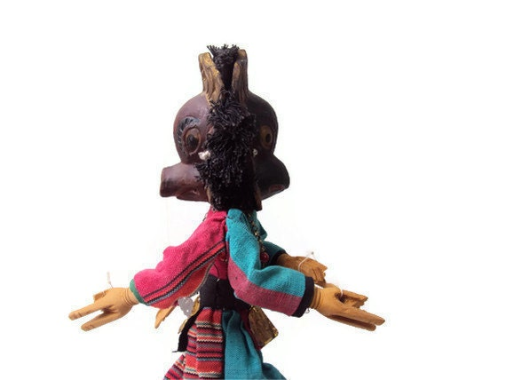 Vintage Marionette, RARE Double Sided Deity Marionette from Nepal, Mid Century Puppet, Pig and Bird Characters, Hand Carved from Wood