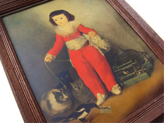 "Vintage Art Print by Francisco de Goya, Young Boy with Cats, Finch, Birds in Birdcage, Spanish Romanticism, Framed, Ready to Hang  21"" X 17"
