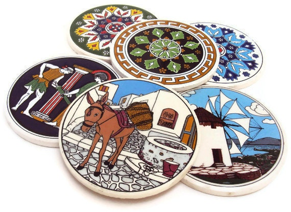 Vintage Ceramic Coasters Greek Coasters Round Circle Tiles