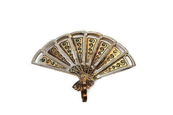 RESERVED Vintage Fan Brooch or Pendant, Damascene Fan Brooch,  Retractable Etched Gold Fan, Opens and Closes, Mid Century, Signed Spain