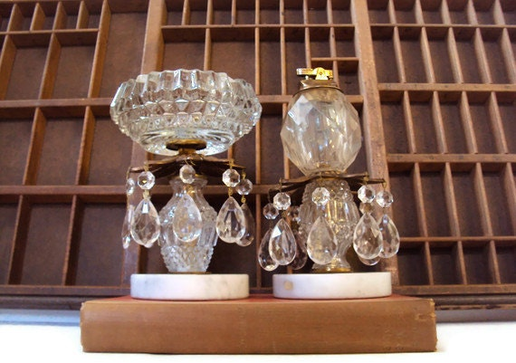 Marble & Crystal Smoking Set, Free Standing Ashtray and Table Lighter Circa 1930's - 1940's, Chandelier Style Smoking Accessories