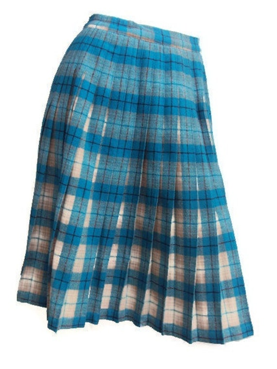 Vintage 1970s Pleated Plaid Skirt, Wool, School Girl Skirt, Turquoise Blue, Cream & Beige, Schoolgirl Costume, Wool, Womens, Small Medium
