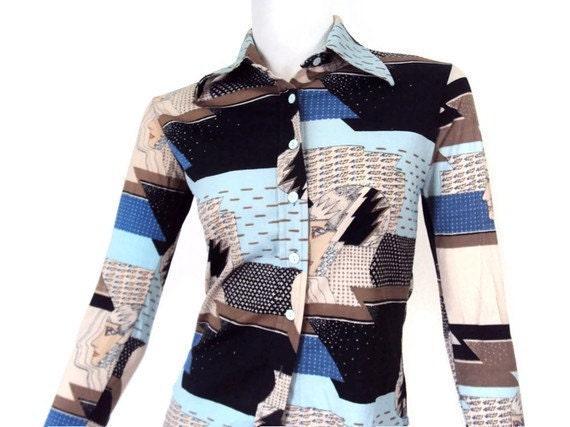 Vintage 70's Weird Women's Shirt - Small - Unique Trippy Pattern Designer Disco Shirt by Huk A Poo