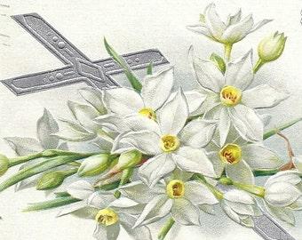 ANTIQUE EASTER POSTCARD Raphael Tuck Joyous Eastertide, 1911, embossed. Cross & Lillies vintage postcard