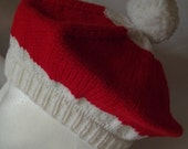 Beret Hand Knit Red / White Childrens Hat
