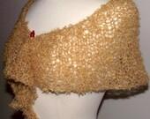 Hand Knit Shawlette Lacy Golden Honey Mohair