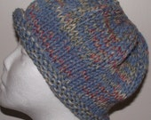 Hand Knit Hat Blue Multi Roll Brim Men Women Boys Girls