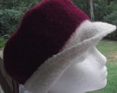 Beautiful Hand Knitted Crimson & Winter White Felted Wool Hat
