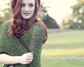 Hand Knit Shawl Green Wool Triangle Fields of Moss w/ Crocheted Lace Trim