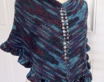 Hand Knit Poncho Shorty Shawl Blues & Teals Wool ~Made to Order~