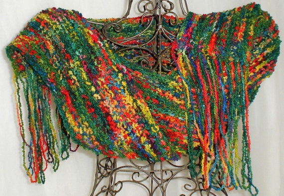 Hand Knit Wool Scarf Green, Red & Yellow w/ Fringe