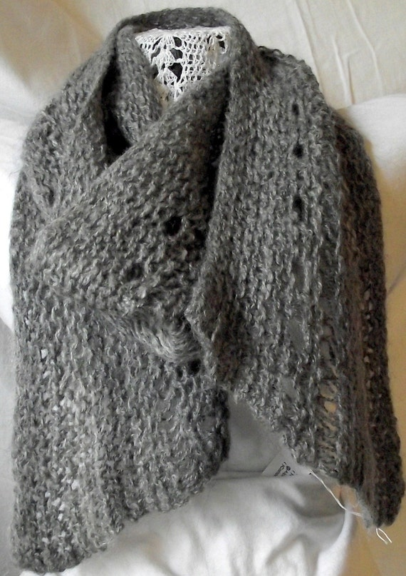 Clearance Sale - Grey Alpaca Hand Knit Lacy Scarf - was 52.00 / Now 40.00