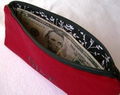 Embroidered Budgeting Bags, Set of Three RED and BLACK RESERVED for Eva